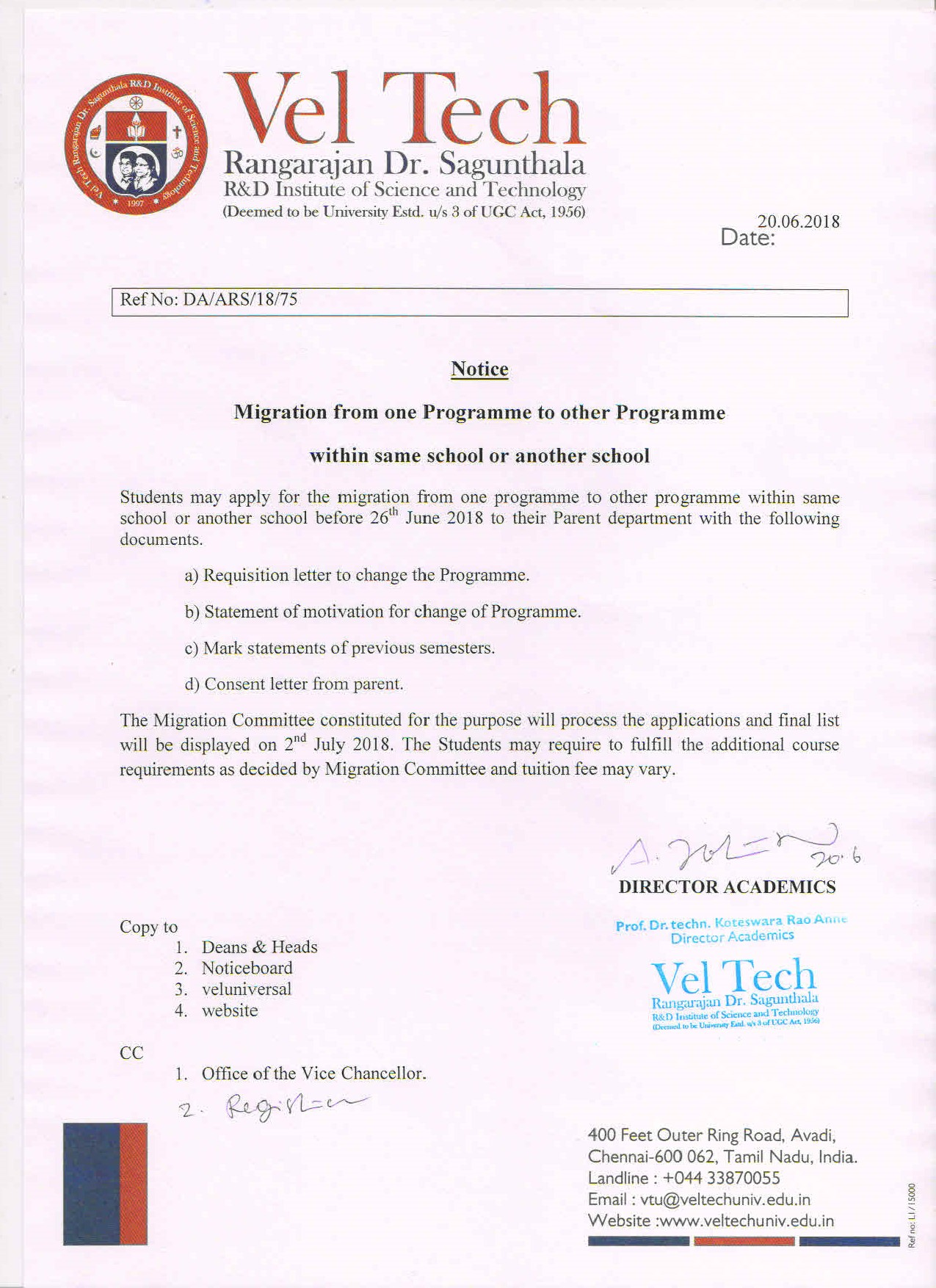 Department Migration Notice