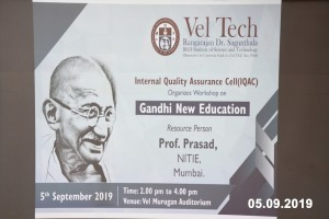 Vel Tech workshop on gandhi new education 2019